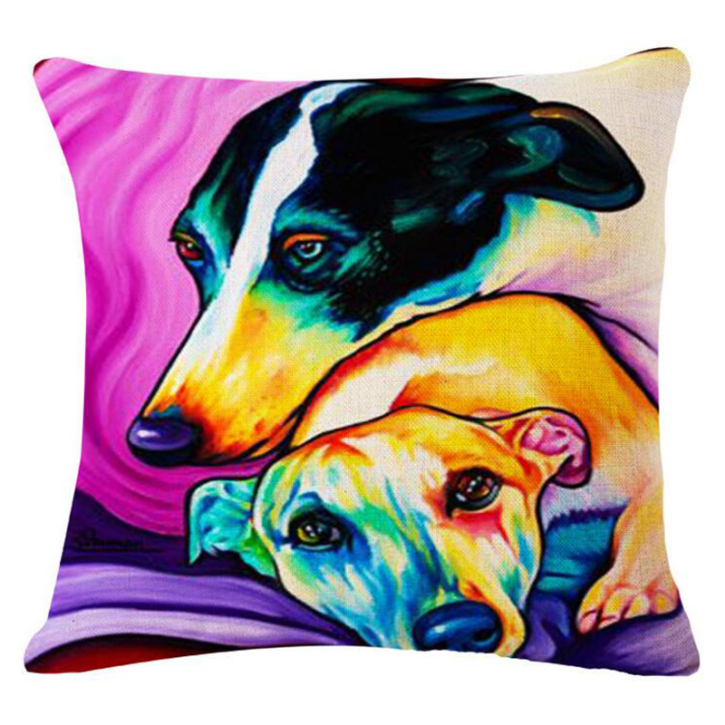 Cute Cartoon Watercolor Dog Decorative Cushion Cover 45x45CM Cotton Linen Square Throw Pillow Cover Decorative Pillow Case