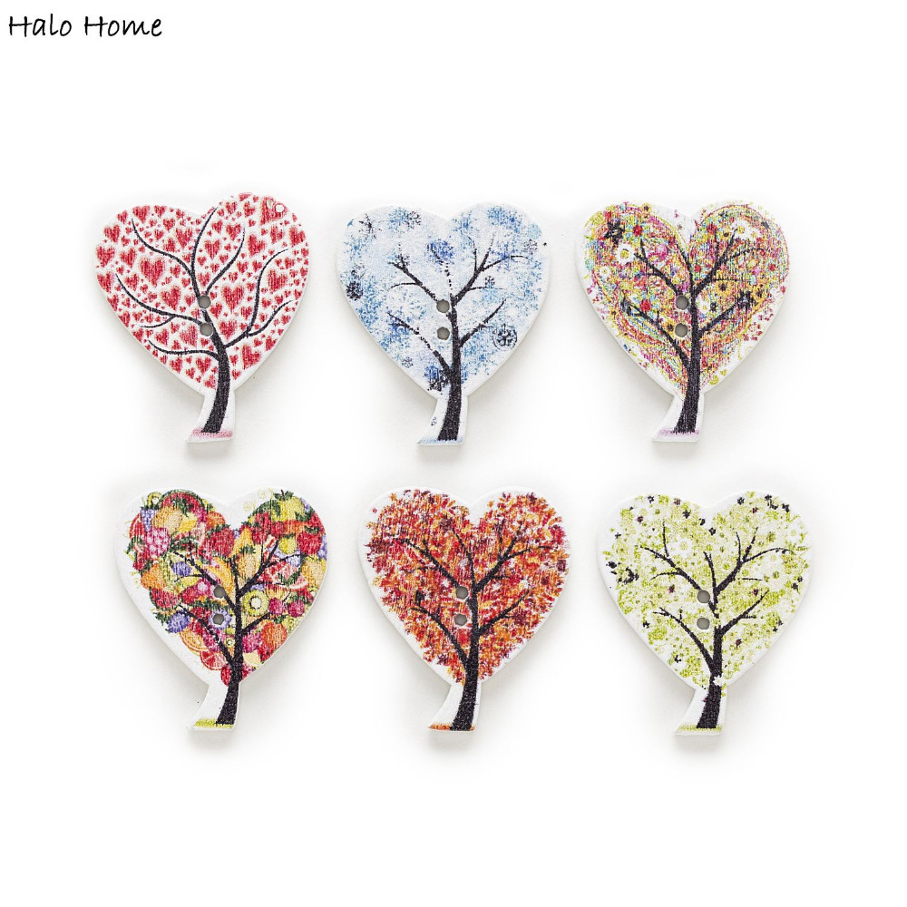 50pcs Mixed Heart Pattern Tree Wood Buttons Sewing Scrapbooking Crafts Clothing Card Making DIY Home Decor 30x26mm