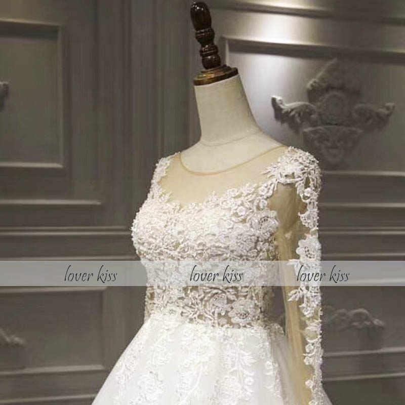 Amante beijo vestido de noiva 2019 fotos reais rústico vestido de noiva de manga longa rendas pérolas vestido de noiva rendas até voltar robe mariage