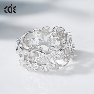 Image 3 - CDE 925 Sterling Silver Rings for Women Hollow Secret Garden Engagement Zircon Finger Ring Bijoux Femme Jewelry Size 6 10