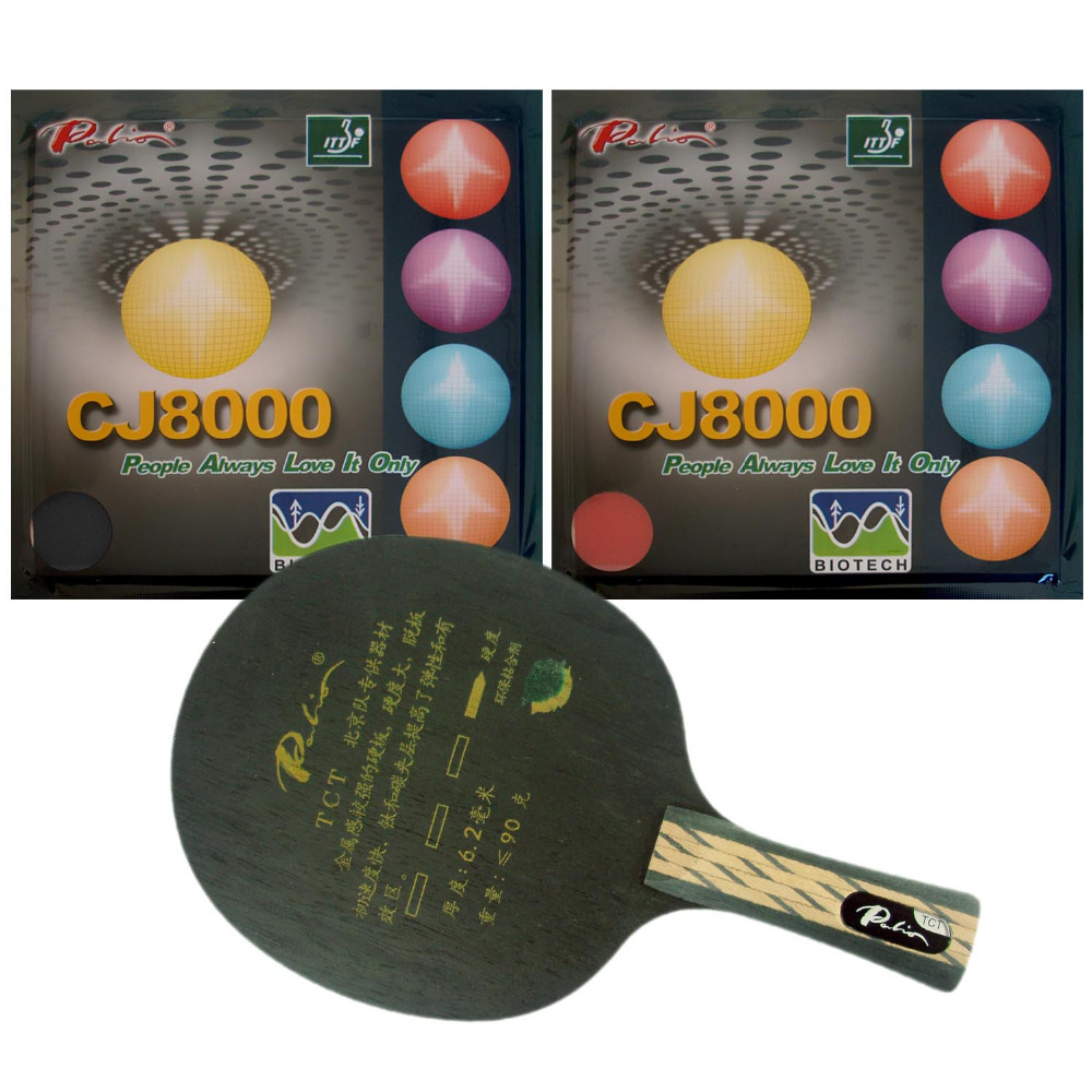 <font><b>Palio</b></font> TCT Table Tennis Blade With 2x <font><b>CJ8000</b></font> <font><b>BIOTECH</b></font> Rubber With Sponge H40-42 for a Ping Pong Racket FL image