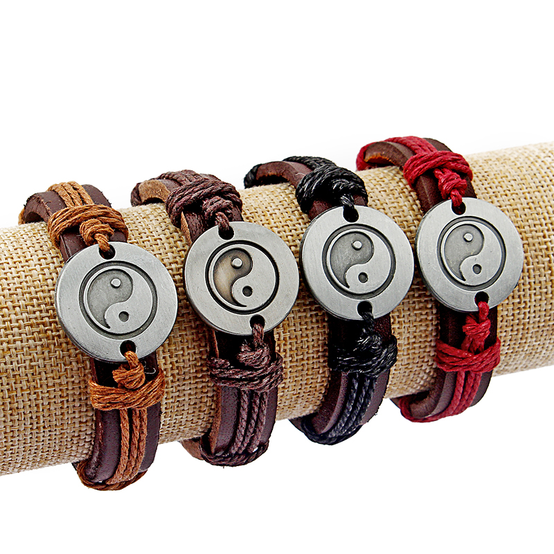 12pcs Mix Color Real Leather Yin Yang Charms Bracelets Jewelry 7-11 inch adjustable