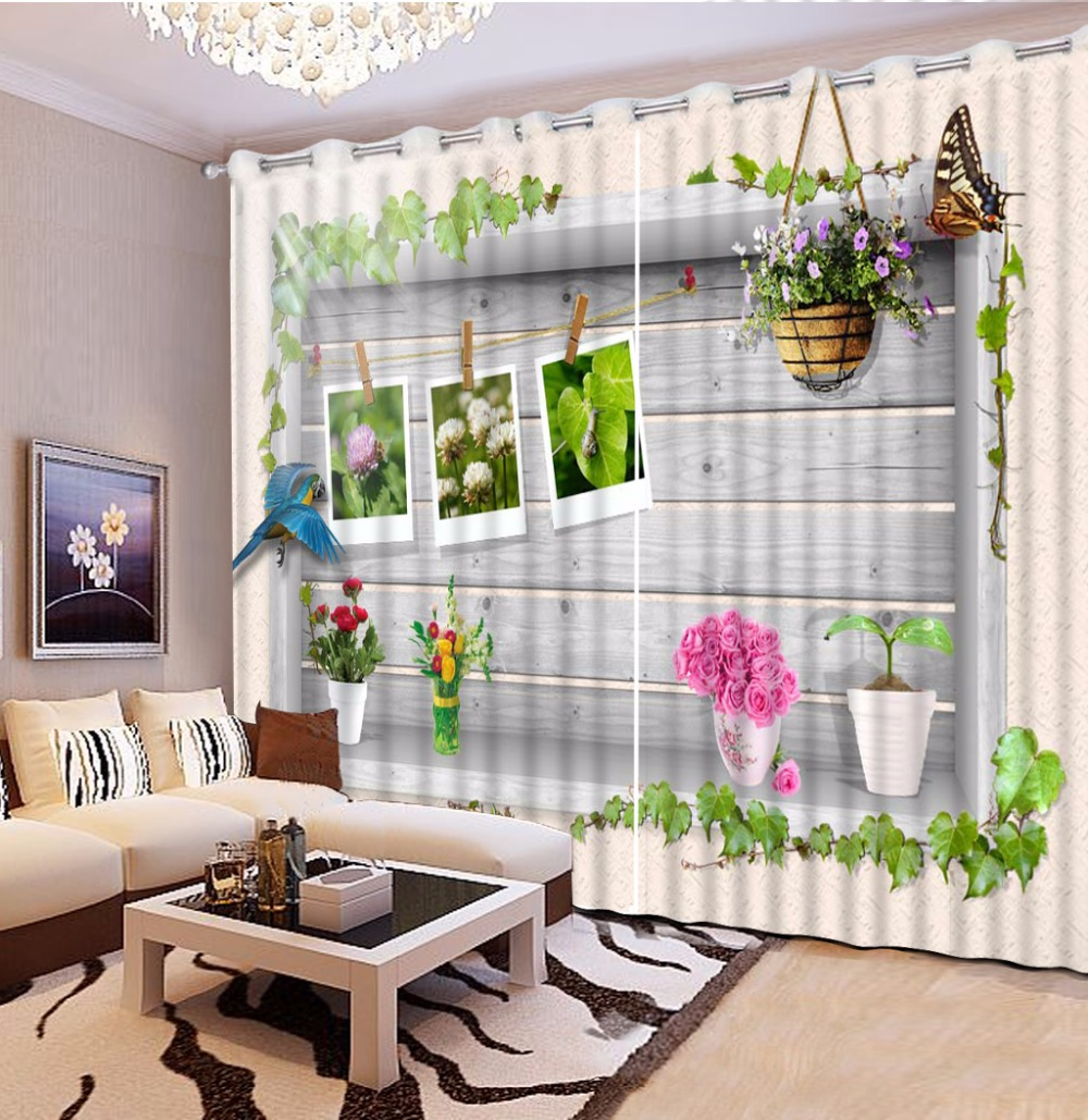 3D Curtain Photo Wooden Wall Photo Flower Butterfly Curtains For Bedroom Curtains For Living Room Blackout Shade Window