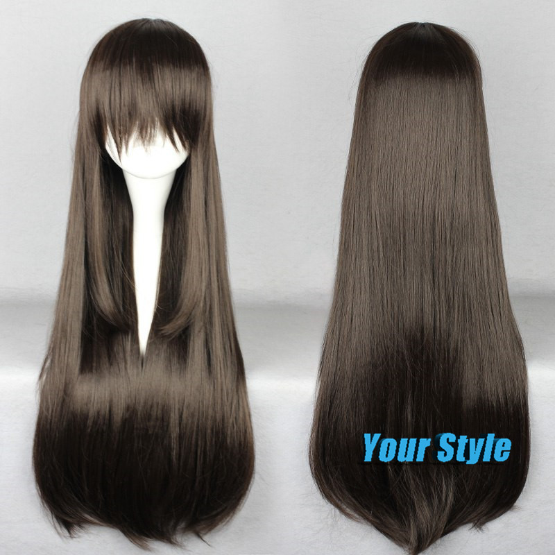 80cm Cheap Synthetic Long Wigs for Black Women Dark Brown Hairstyles Hair American African Peruca Cosplay Anime