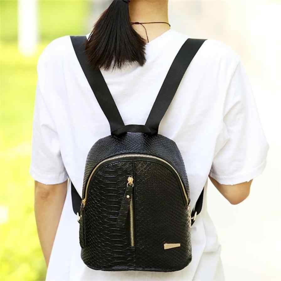 2019 PU deri kadın sırt çantası timsah desen katı okul sırt çantası kadın fermuar kadın küçük tiki tarzı çanta # YL5