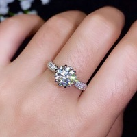 Hot Sale Women's Beautiful Moissanite Gem Ring Retro S925 Sterling Silver Gem Ring Wedding Gift Jewelry Present