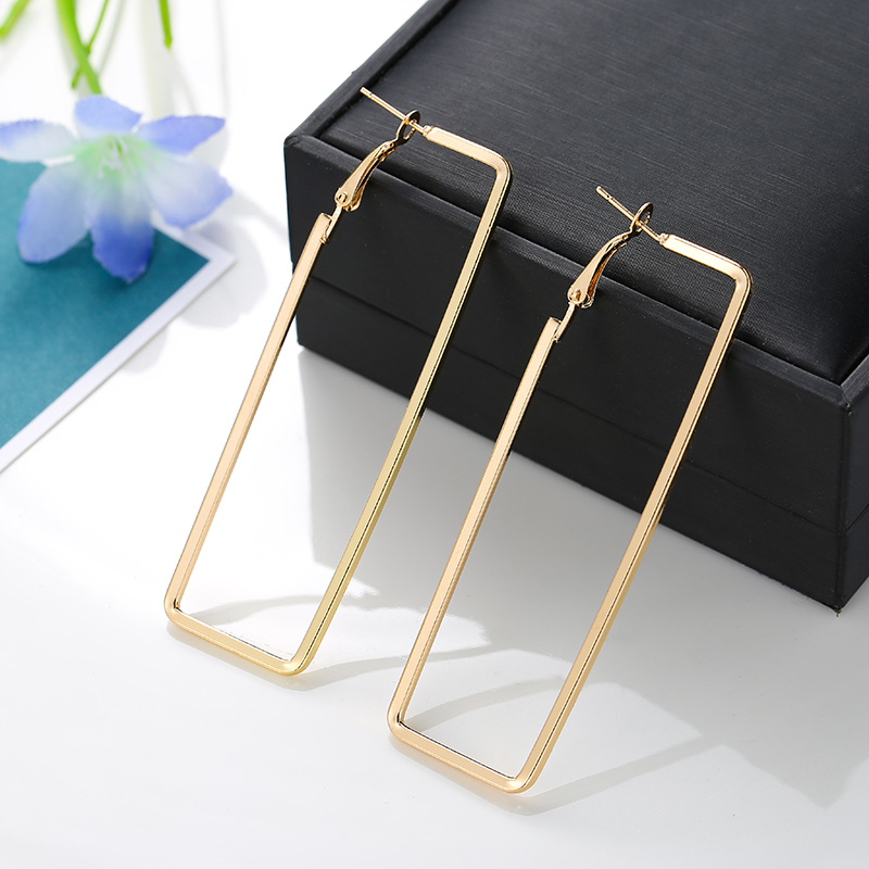 3 Sizes Hot Sale Gold Silver Big Hoop Earrings For Women Punk Fashion Smooth Rectangle Earring Party Gifts Jewelry Drop Shipping