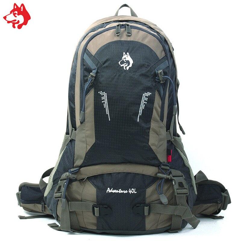 Sac à dos de randonnée en nylon anti-déchirure vert/Orange/gris de capacité moyenne 40L sports de plein air sacs à dos de camping