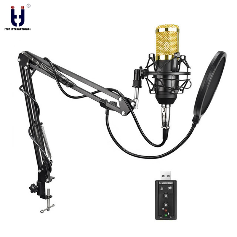 Ituf Professional Condenser Microphone for computer bm 800 Audio Studio Vocal Recording Mic KTV Karaoke + Microphone stand + USB professional condenser microphone bm 800 bm 800 cardioid pro audio studio vocal recording mic 48v phantom power usb sound card