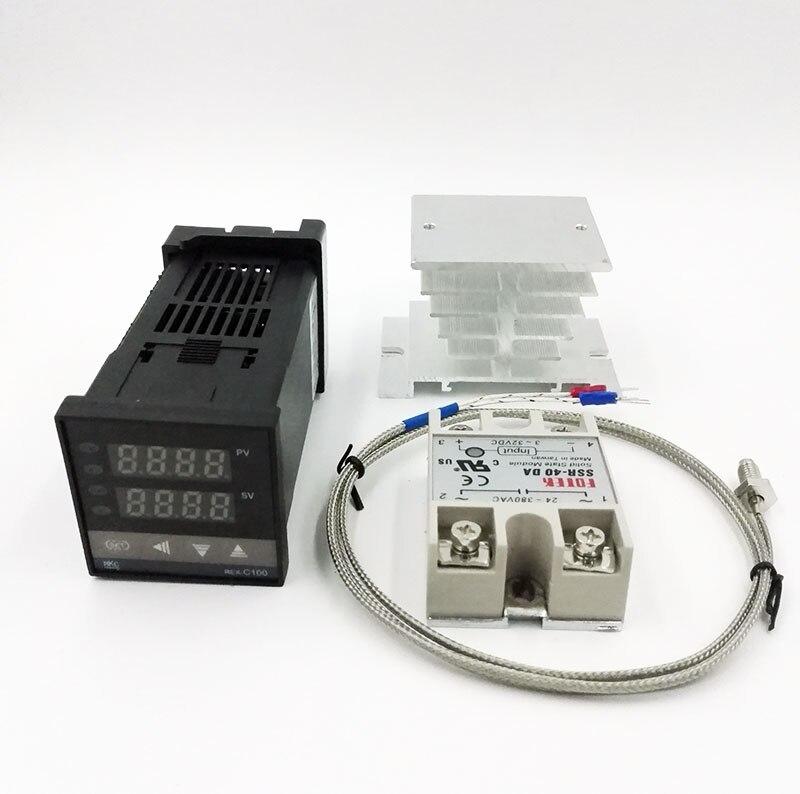 REX-C100 Digital RKC PID termostato controlador de temperatura digital REX-C100/40A SSR relé/K Sonda de termopar/disipador de calor