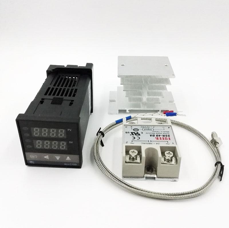 REX-C100 Digital RKC PID Thermostat Temperatur Controller digitale REX-C100/40A SSR Relais/K Thermoelement Sonde/kühlkörper