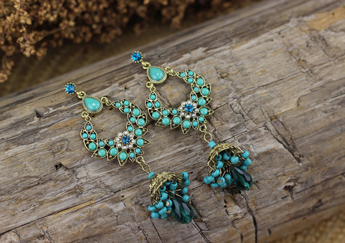 Luxury Bohemian Emerald Acrylic Chandelier Earrings 2015 Summer ...