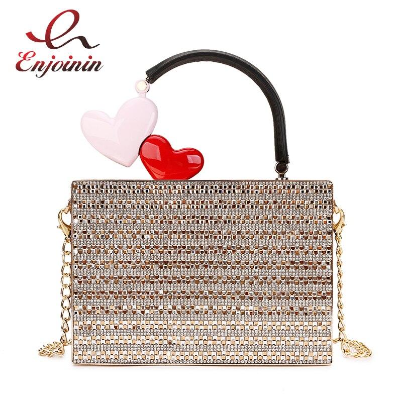 Luxe mode diamant métal poignée Pu femmes parti sac à main pochette chaîne sac à main femme Bolsa sac de soirée Designer sacs fourre-tout