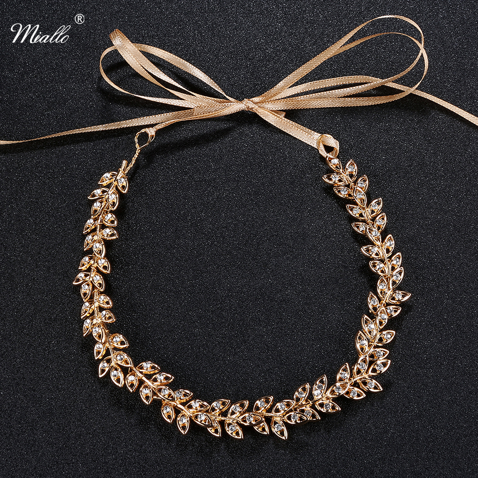 Miallo Newest Wedding Headbands for Bride Gold Branches and Leaves Rhinestone Hair Vine for Women Wedding Bridal Hair Accessory 03 red gold bride wedding hair tiaras ancient chinese empress hat bride hair piece