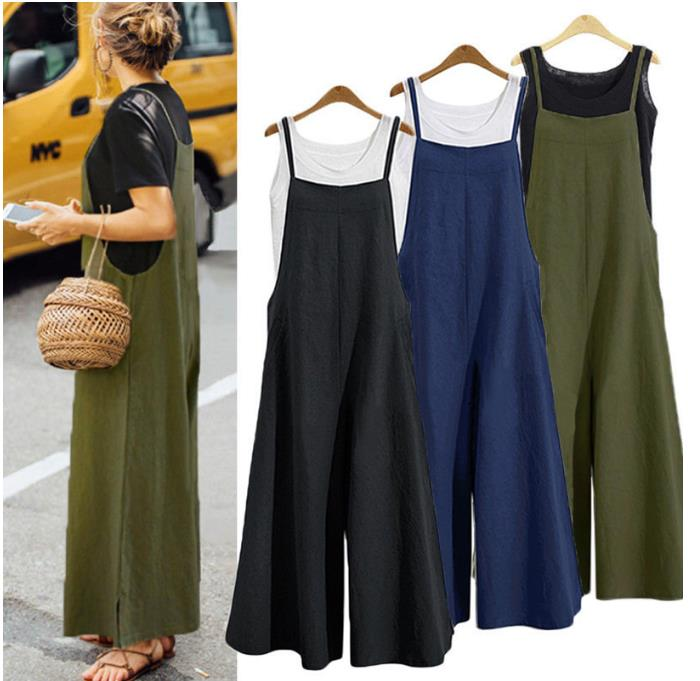 Rompers 2020 Plus Size S 5XL Summer new Women Casual Loose Linen Cotton Jumpsuit Sleeveless Backless Playsuit Trousers Overalls