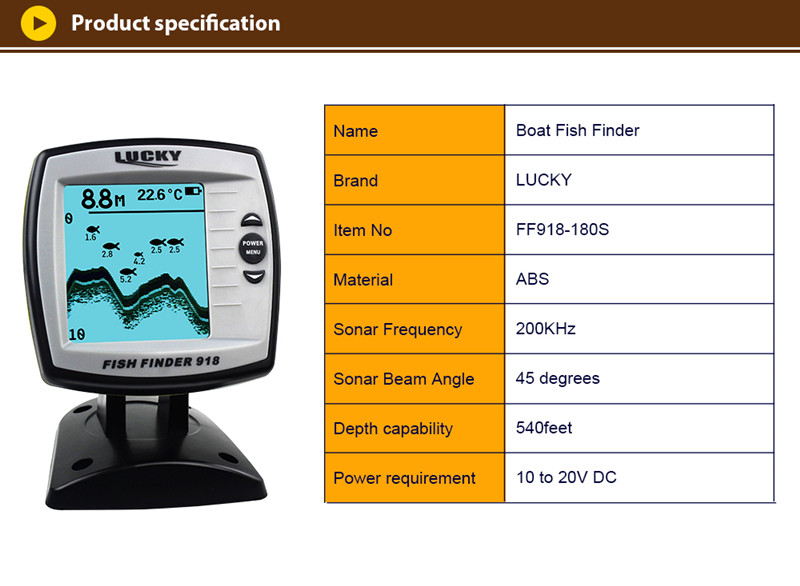 FF918-180S Fish Finder Wired Transducer Sensor Fishfinder 45 Degrees Echo LCD Fish Locator Boat EnglishRussian Menu Pesca Probe (6)