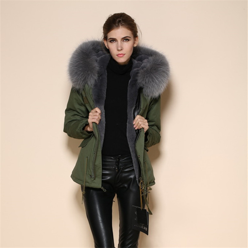 2017 Winter Jackets Parks Women Coats Raccoon Fur Collar Hooded Thick Warm Solid Casual Hot Sale High Quality Coat lr206