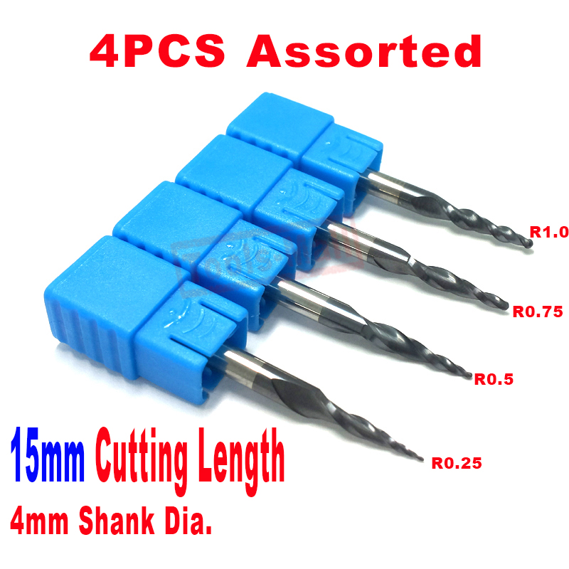 Free shipping-4PCS Assorted R0.25&0.5&0.75&1.0mm HRC55 Tungsten solid carbide Tapered Ball Nose End Mills and cone cutter 2pcs 10mm 100mm hrc55 cylindrical tungsten carbide rod grindering raw material free shipping to all countries