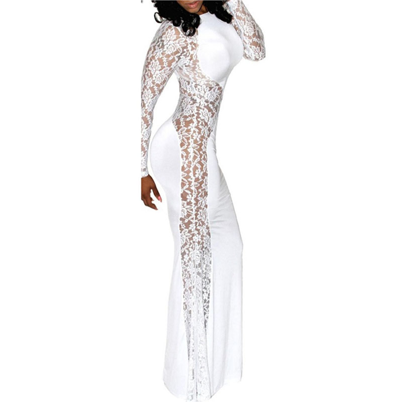 2016 New Summer Womens Sexy Lace Patchwork Maxi Solid White Black Dress Long Sleeve Round Neck Vestidos Plus Size S-L