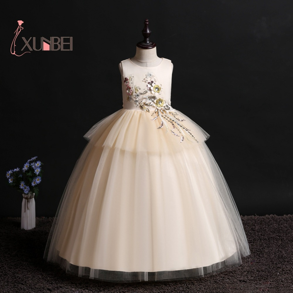 Princess Ball Gown Champagne Tulle   Flower     Girl     Dresses   2019 Floral Appliqued   Girls   Pageant   Dresses   First Communion   Dresses
