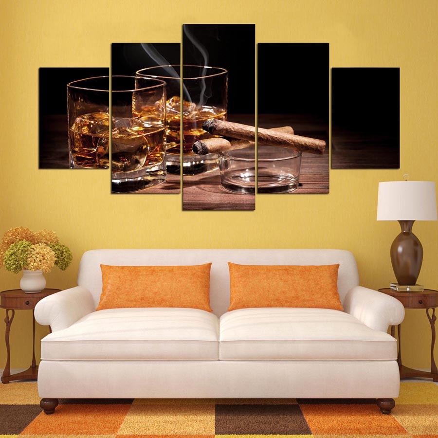 HJIAART 5 Pieces Canvas Prints wine cigar painting Wall Art Home ...