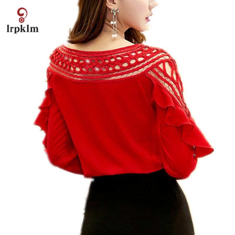 Grande taille 3XL 2017 nouveau printemps automne femmes à manches longues rouge blanc noir en mousseline de soie Blouse creuse chemise Crochet hauts YY758 - 2
