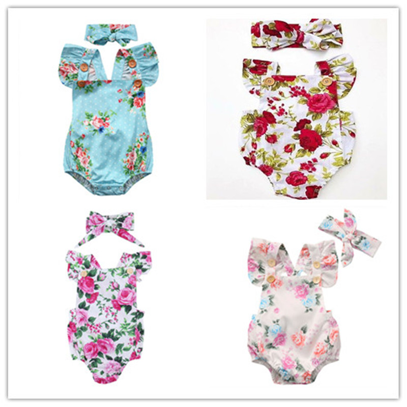 2019 Newborn Infant Baby Girl Floral Bodysuit Headband Jumpsuit Clothes Outfit Sets 4 Kinds