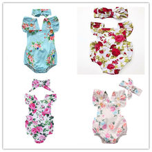 2019 Newborn Infant Baby Girl Floral Bodysuit Headband Jumpsuit Clothes Outfit Sets 4 Kinds(China)