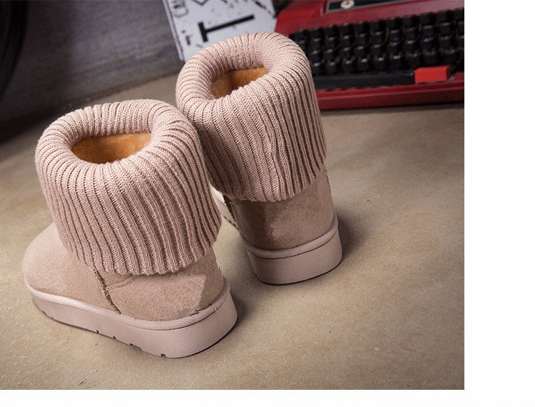KUYUPP Patchwork Knitting Wool Women Snow Boots Winter Shoes 2016 Flat Heels Warm Plush Ankle Boots Slip On Womens Booties DX119 (61)