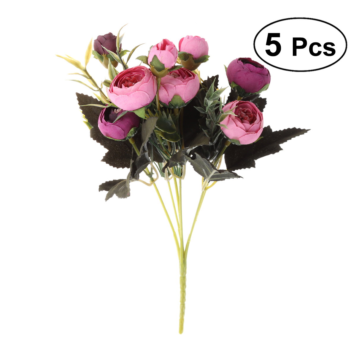 5 Pcs Buatan Camellia Sutra Batang Tunggal dengan 6 Cabang Tanaman Palsu  Simulasi untuk Pesta Pernikahan Dekorasi Rumah a52877487a