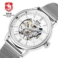 Мужские часы Серебристые автоматические механические Военные Наручные часы Скелет спортивные механические часы Relogio Masculino reloj hombre