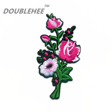 DOUBLEHEE 5.5cm*10.7cm Embroidered Iron On Patches Rose Flowers With Green Leaves Embroidery Sew DIY Coat Shoes Accessories