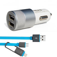 Xiaomi redmi note 2 3 prime USB Car Charger With USB Data Cable Aluminium Car Charger