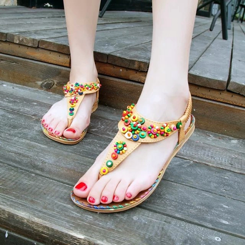 2016 Summer Bohemia Flat Beach Sandals National Wind Beading Flip Flop font b Women b font