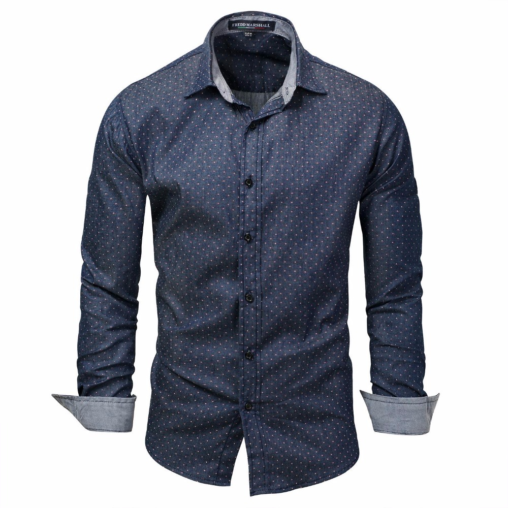 New Arrival Long Sleeve Dot Shirts Men Casual Denim Shirt High Quality camisa masculina Male 100% Cotton Shirts ...