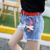 Hot Summer Children S Grils Jeans Baby Girls Waistline Cartoon Images Short Pants Jeans Child Elastic