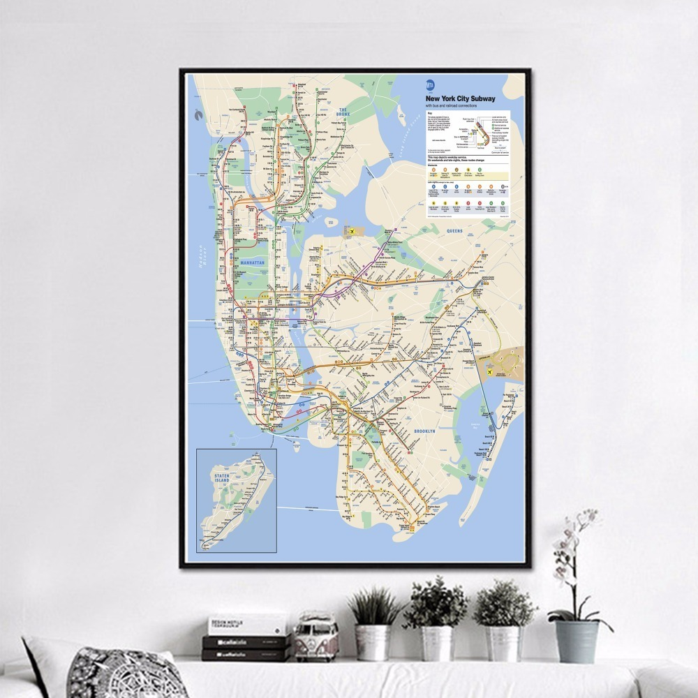 Nyc Subway Map Canvas Wall Art.World Subway Metro Map Posters And Prints Wall Art Decorative Picture Canvas Painting For Living Room Home Decor Unframed