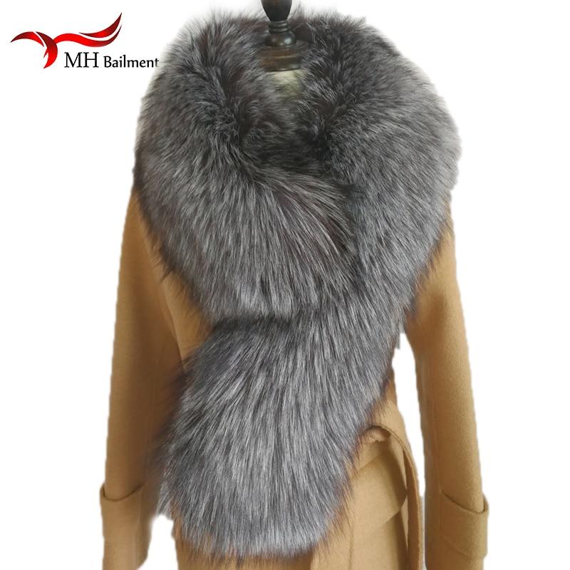 Apparel Accessories Comfortable Silver Fox Fur Scarf For Women Winter Warm Fox Fur Collar Shawl Wrap Stole Scarfs Female Hairy Coat Collar Scarves 100% Guarantee Women's Scarf Sets
