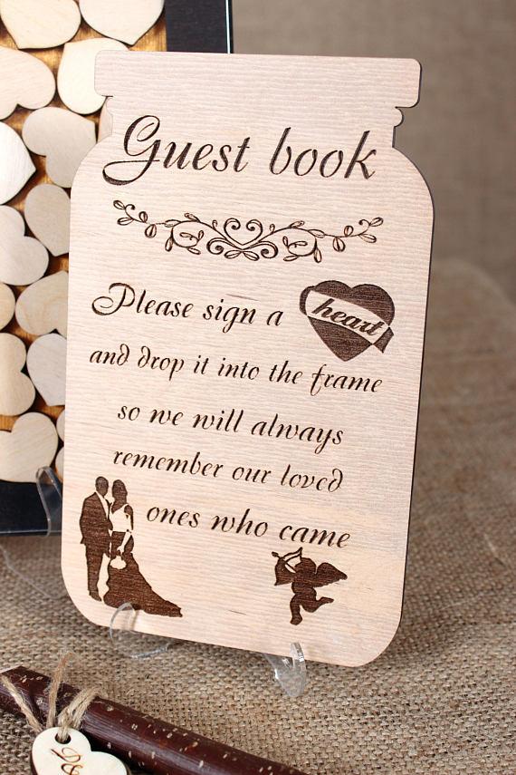 Wedding guest book Mason jar wooden guestbook alternative Wooden ...