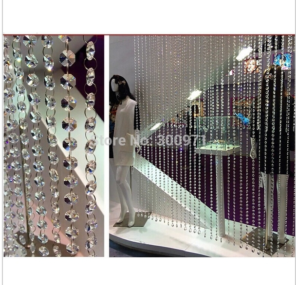20M/lot 14mm octagon beads chain,CRYSTAL GLASS CURTAIN STRANDS,home/WINDOW/DOOR CURTAIN decoration, free shipping