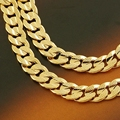 Classic  Yellow Solid Gold Filled Men's Necklace Cuban chain 24in