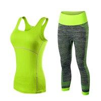 YEL 2 PCS Logo Custom Quick Dry Running Set Women Vest Pants Sport Suit Training Tank