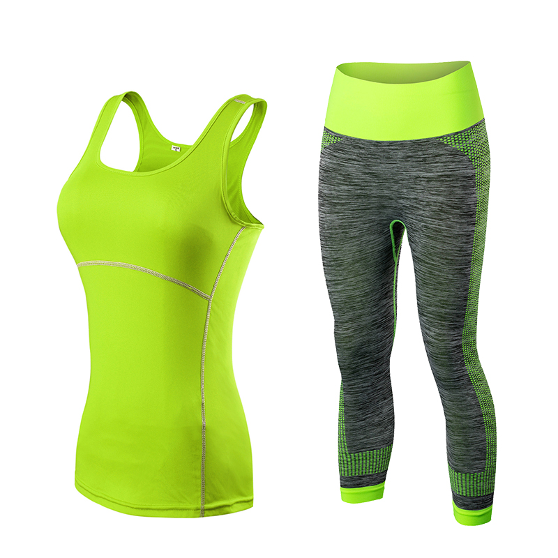 Yuerlian Quick Dry sportswear Gym Leggings Female T-shirt Costume Fitness Tights Sport Suit Green Top Yoga Set Women's Tracksuit crazyfit mesh hollow out sport tank top women 2018 shirt quick dry fitness yoga workout running gym yoga top clothing sportswear