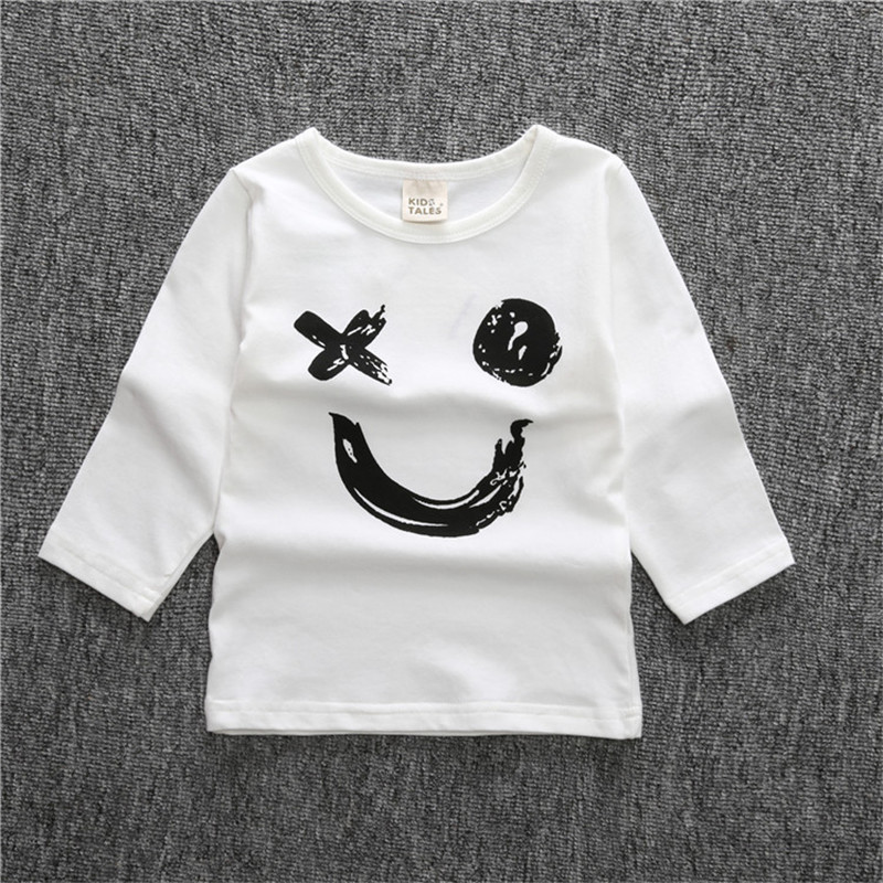 Kids Clothes Tops Baby Children Long Sleeve Cotton Letters Pullover Boys Girls Clothing Spring Fall TShirts Girls Kids Tee