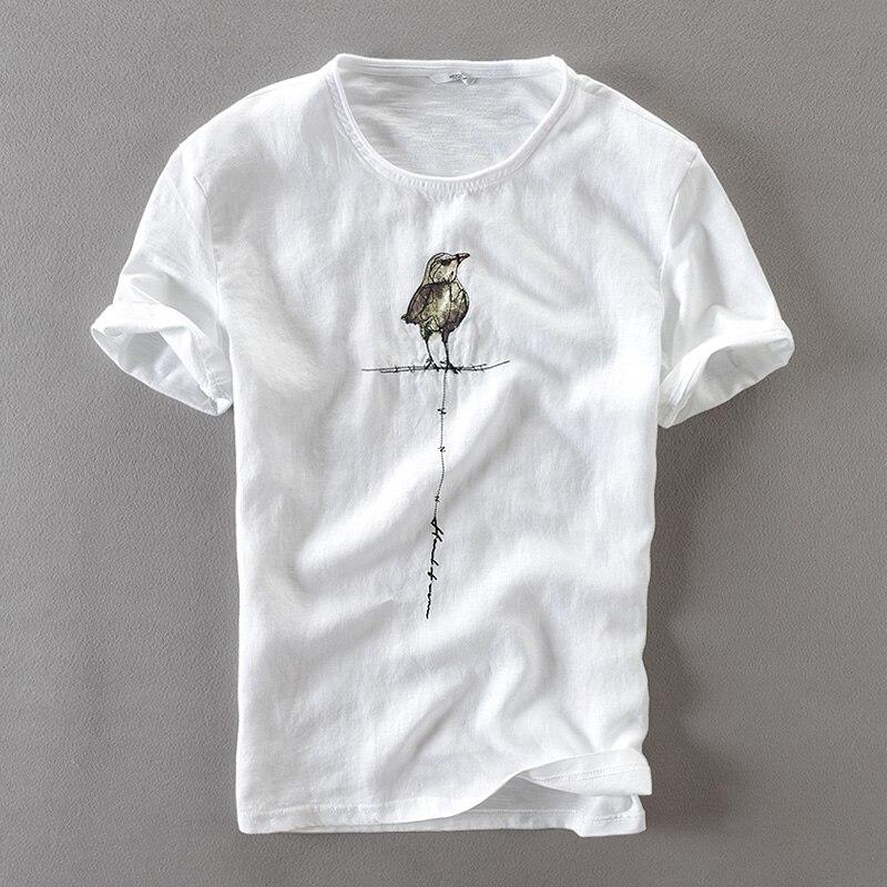 שקט Creative טבעי כותנה ופשתן הגברים חולצה מקרית שרוול קצר קיץ בגדי גברים מותג חולצת t mens tshirt camiseta
