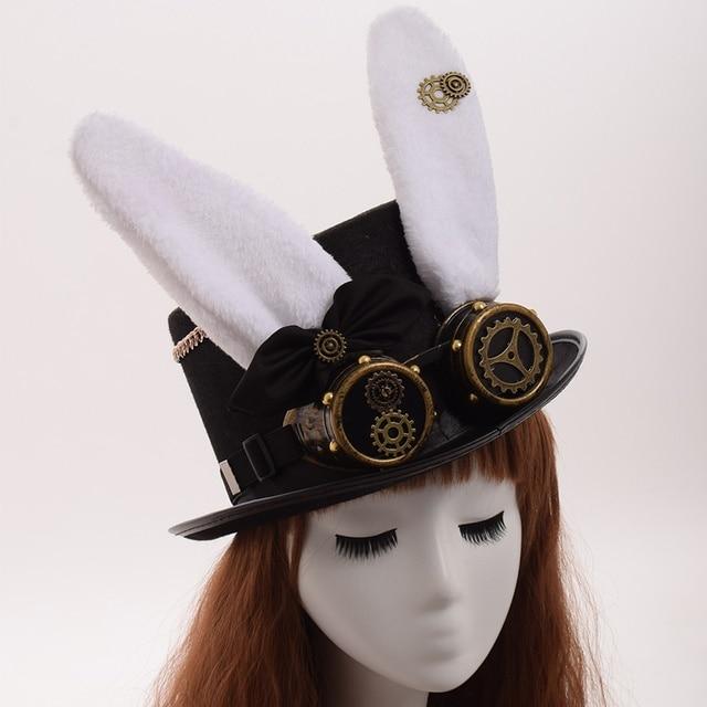 Шляпа в стиле стимпанк с очками кролик