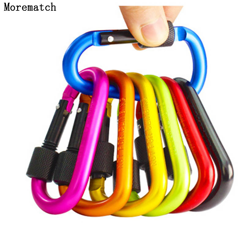 Premium 1pcs Black Outdoor Climbing Camping Hiking Aluminum Alloy D Carabiner Quickdraws Spring Snap Clip Hooks Keychai