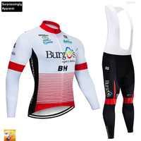 Biały jazda na rowerze zestaw jazda na rowerze Jersey Burg 16D wyściełane spodnie na szelkach 2019 Tour mężczyźni z długim rękawem kombinezon rowerowy odzież zestaw konna odzież sportowa
