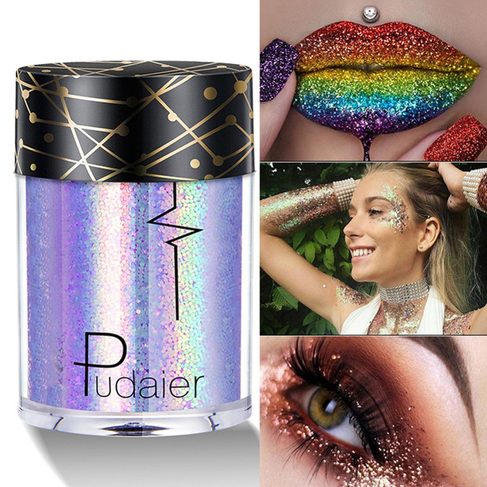 Qibest 30 Color Glitter Powder Eyeshadow Cosmetics Colorful Party Makeup Sexy Lips Eye Loose Metal Eye Shadow Blue Silver Beauty Essentials Eye Shadow