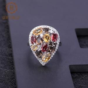 Image 3 - Gems Ballet Multicolor Natural Garnet Citrine Smoky Quartz Gemstone Rings 925 Sterling Silver Cocktail Ring For Women Jewelry